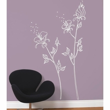 White Flowers and Pollen Transfer Wall Decals