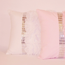 White Jewel and Chiffon Ruffle Throw Pillow