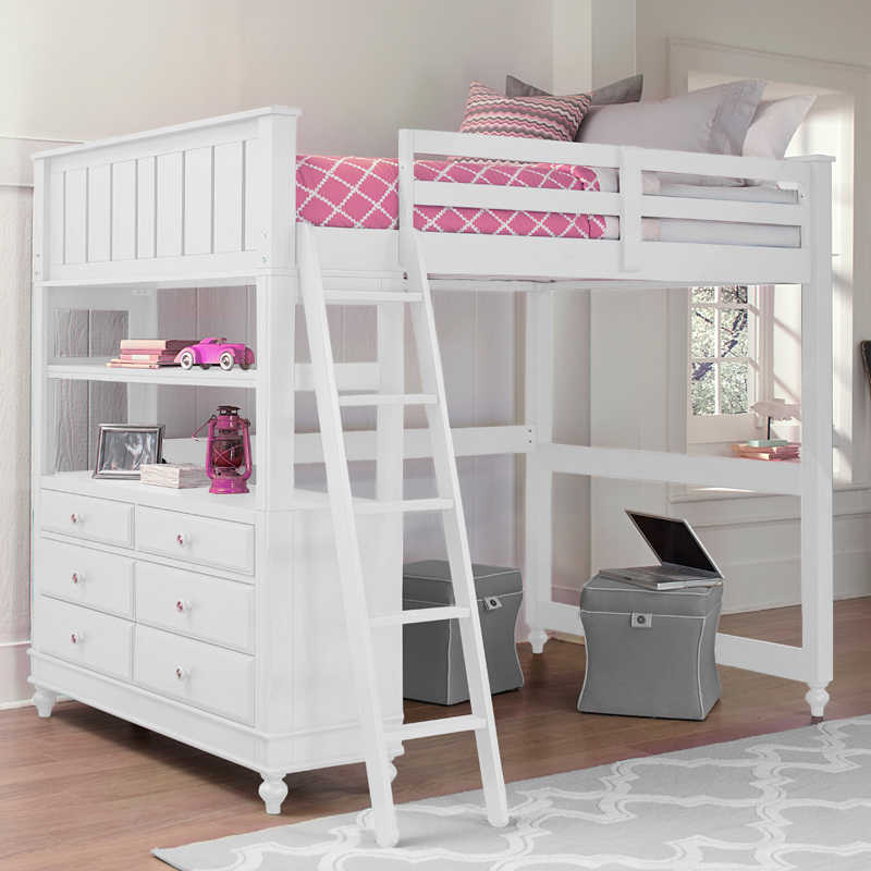 District17 White Beach House Loft Bed Beds