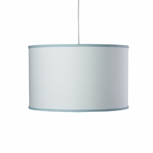 White Large Cylinder Pendant Light with Aqua Trim