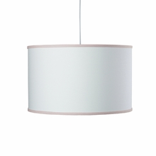 White Large Cylinder Pendant Light with Blush Trim