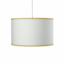 White Large Cylinder Pendant Light with Citron Trim