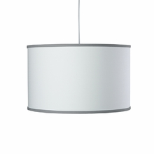 White Large Cylinder Pendant Light with Pewter Trim