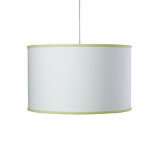 White Large Cylinder Pendant Light with Spring Green Trim