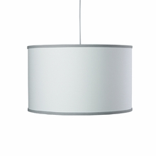 White Large Cylinder Pendant Light with Stone Trim