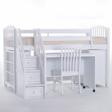 White Morgan Low Twin Loft with Steps