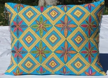 Yellow and Turquoise Diamond Beaded Pillow