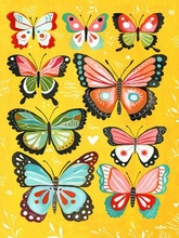 Yellow Butterflies Canvas Wall Art
