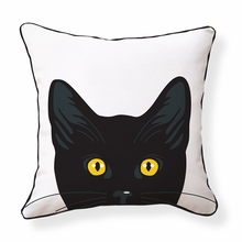 Yellow Cat Eyes Reversible Throw Pillow