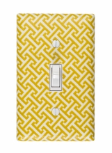 Yellow Greek Key Light Switch Plate Cover