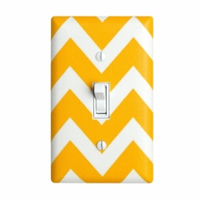 Yellow Large Chevron Light Switch Plate Cover