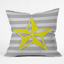 Yellow Star Throw Pillow