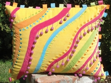 Yellow Velvet Pillow with Beaded Pom Poms