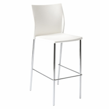 Yeva Bar Chair in White and Chrome - Set of 2
