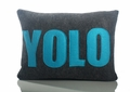 YOLO Recycled Felt Throw Pillow