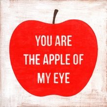 You Are The Apple Of My Eye Small Vintage Canvas Print on Wood