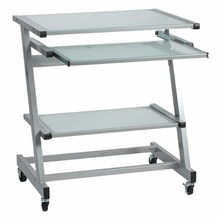 Z Computer Cart in Aluminum and Frosted Glass