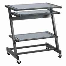 Z Computer Cart in Graphite Black and Smoked Glass