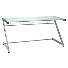 Z Deluxe Desk in Aluminum and Frosted Glass