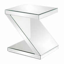 Z-Shaped Mirrored End Table