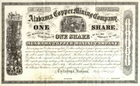 Alabama Copper Mining Stock 1855