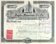 Anglo-American Oil Stock (a Spindletop Co) 1901