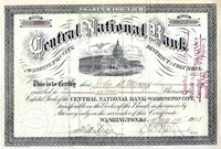 Central National Bank of Washington City Stock 1905
