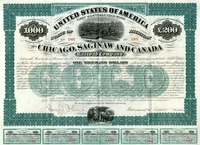 Chicago Saginaw & Canada RR Bond 1873