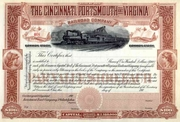 Cincinnati Portsmouth & Virginia RR Stock 190_