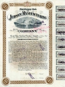 Judson Manufacturing Bond signed by Egbert Judson 1887