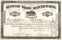 Kentucky Wagon Manufacturing Stock 1910