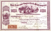 Lick Run & Sugar Creek Oil Stock 1865