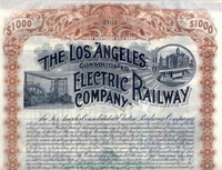 Los Angeles Consolidated Electric RW Bond 1892