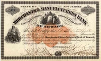 Merchants & Manufacturers Bank of Newark Stock 1872