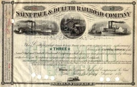 Saint Paul & Duluth RR Stock 1878