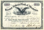 Second National Bank of Allentown Stock 1890