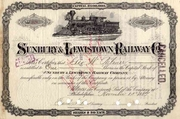 Sunbury & Lewistown RW Stock 1889