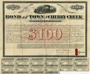 Town of Cherry Creek $100 Bond 1874