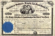 Volunteer Soldiers Family Aid Fund Bond, City of NY 1862
