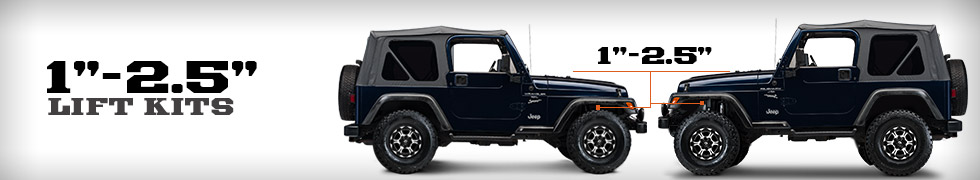 Jeep TJ Lift Kits 1 - 2.5 Inch (1997-2006 Wrangler)