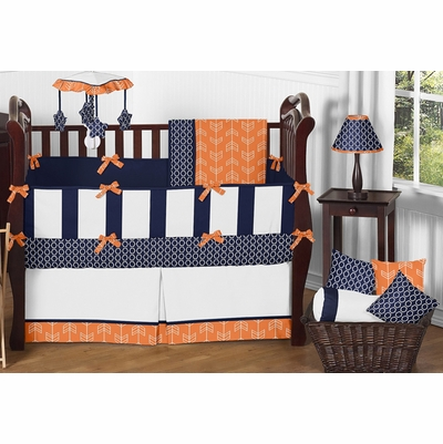 Arrow Orange and Navy Crib Bedding Collection