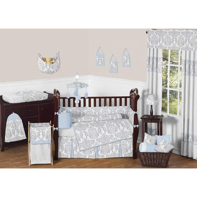Avery Blue and Gray Crib Bedding Collection