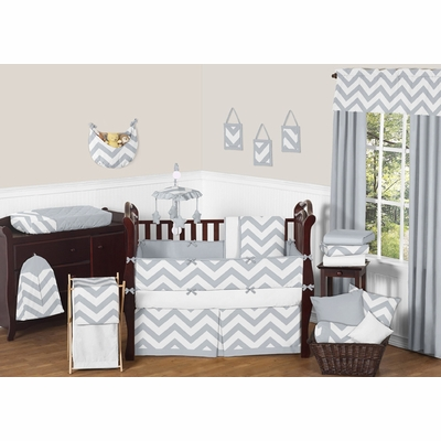 Chevron Gray and White Crib Bedding Collection