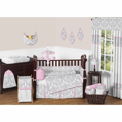 Elizabeth Pink and Gray Crib Bedding Collection
