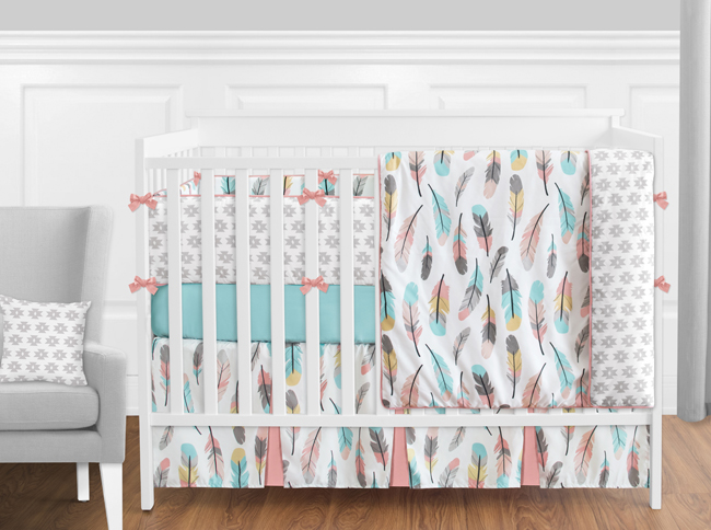 Feather Turquoise And Coral Crib Bedding Collection