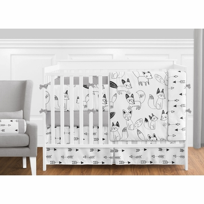 Fox Black and White Crib Bedding Collection