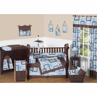 Geo Blue Crib Bedding Collection