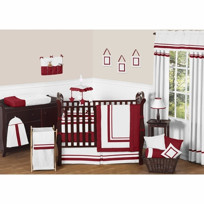 Hotel White and Red Crib Bedding Collection