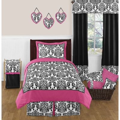 Isabella pink black and white full queen bedding collection - Black white pink comforter ...