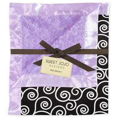 Kaylee Purple and Black Minky and Satin Baby Blanket